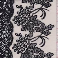 *3 5/8 YD PC--Dark Ivory/Black Embroidered Cluster Lawn