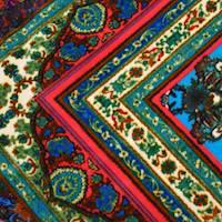 *3 YD PC--Fuchsia/Aqua Teal/Multi Paisley Bandana Printed Velvet Knit