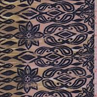 *5 YD PC--Cocoa Beige Starburst Floral Rayon Challis