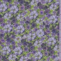 *1 3/4 YD PC--Lavender Mottled Floral Garden Crepe De Chine