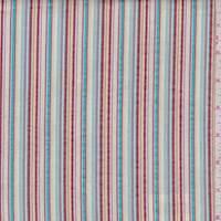 *4 3/8 YD PC--White/Turquoise/Brick Seersucker Stripe Cotton