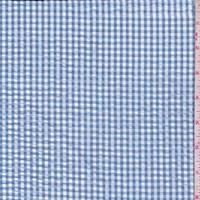 *2 3/4 YD PC--Slate Blue/White Gingham Check Cotton Seersucker