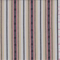 *1 7/8 YD PC--White Multi Stripe Cotton Ikat