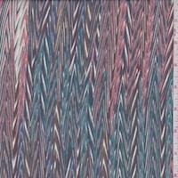 *1 1/2 YD PC--Teal/Pink/Merlot Flamestitch Silk Chiffon