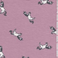 Mauve Leaping Unicorn Brushed French Terry Knit