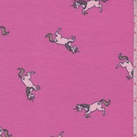 Hot Pink Leaping Unicorn Brushed French Terry Knit