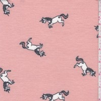 Dusty Peach Leaping Unicorn Brushed French Terry Knit