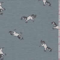 Dusty Blue Leaping Unicorn Brushed French Terry Knit