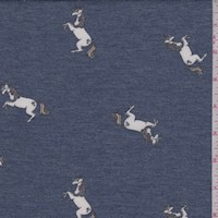 Dark Blue Leaping Unicorn Brushed French Terry Knit
