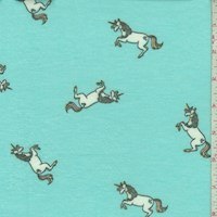 Icy Blue Leaping Unicorn Brushed French Terry Knit