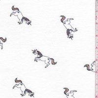 Ivory Leaping Unicorn Brushed French Terry Knit