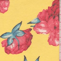 Yellow/Coral Peony Double Brushed French Terry Knit