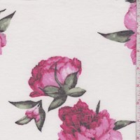 White/Fuchsia Peony Double Brushed French Terry Knit