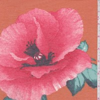 Deep Orange/Coral Peony Brushed French Terry Knit