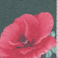 Emerald/Coral Peony Brushed French Terry Knit