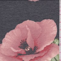 Charcoal/Blush Peony Brushed French Terry Knit