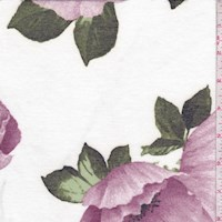 White/Plum Peony Brushed French Terry Knit