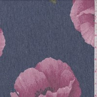 Blue/Mulberry Peony Brushed French Terry Knit