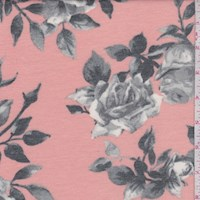 Peach/Grey Rose Bloom Brushed French Terry Knit