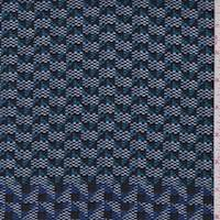 *1 YD PC--Aqua/Black Mini Geo Dobbie Weave Jacketing