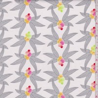 """*4 YD PC--White/Pink """"Winged"""" Print Cotton"""