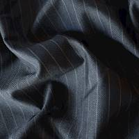 *1 3/4 YD PC--Gunmetal/Gray Wool Blend Pinstripe Gabardine Suiting