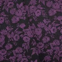*2 YD PC--Fuchsia Purple/Black Floral Stretch Damask