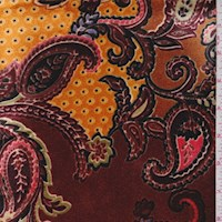 *2 YD PC--Chestnut/Pumpkin Paisley Stretch Velvet