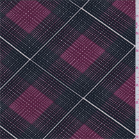 *4 1/4 YD PC--Black/Maroon Diamond Check Print Lyocell Jersey Knit