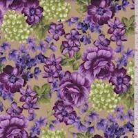 *2 3/4 YD PC--Antique Gold Violette Print Cotton