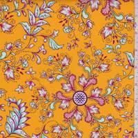 *4 3/4 YD PC--Golden Orange Oracle Myth Print Cotton