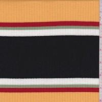 *3 3/8 YD PC--Black/Yellow/Red Stripe Poor Boy Rib Knit