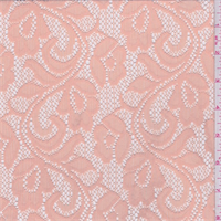 *2 YD PC--Apricot Floral Stretch Lace