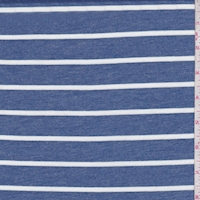 Heather Blue Stripe Double Brushed French Terry Knit