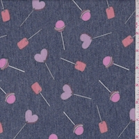 Heather Navy Lollipop Double Brushed French Terry Knit