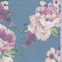 Dusty Blue/Apricot Floral Double Brushed French Terry Knit