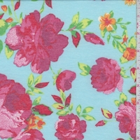 Turquoise Summer Floral Double Brushed French Terry Knit