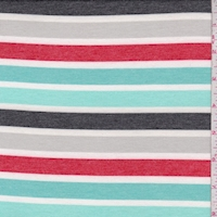 Aqua/Turquoise/Grey Stripe Double Brushed French Terry Knit