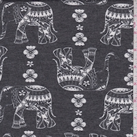 Slate Moroccan Elephant Double Brushed French Terry Knit