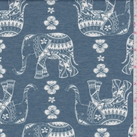 Grey Blue Moroccan Elephant Double Brushed French Terry Knit