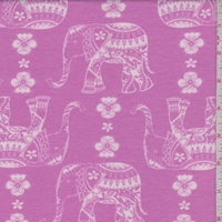 Light Fuchsia Moroccan Elephant Double Brushed French Terry Knit