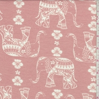Pale Salmon Moroccan Elephant Double Brushed French Terry Knit