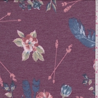 Heather Mulberry/Blue Arrow Floral Double Brushed French Terry Knit