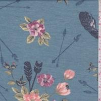 Heather Blue Arrow Floral Double Brushed French Terry Knit