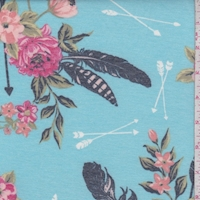 Turquoise Arrow Floral Double Brushed French Terry Knit