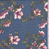 Heather Blue/Berry Floral Sprig Double Brushed French Terry Knit