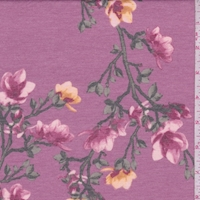 Mauve Floral Sprig Double Brushed French Terry Knit