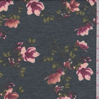 Heather Forest Floral Sprig Double Brushed French Terry Knit