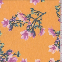Marigold Yellow Floral Sprig Double Brushed French Terry Knit