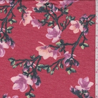 Heather Red Floral Sprig Double Brushed French Terry Knit